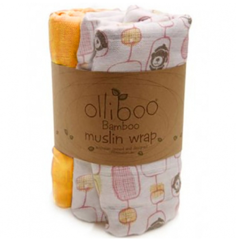 olliboo - bamboo muslin wrap 3 pack, musk pink