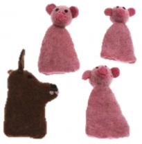 PAPOOSE - felt finger puppets gift boxed set, 3 little pigs