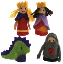 PAPOOSE - felt finger puppets gift boxed set, king & queen