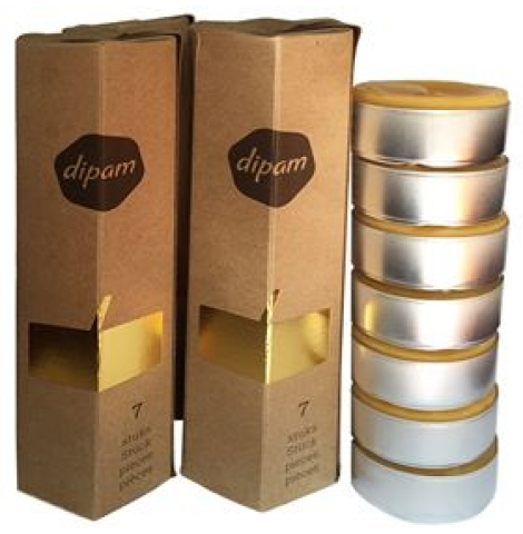 dipam - beeswax tea light candles, box of 7